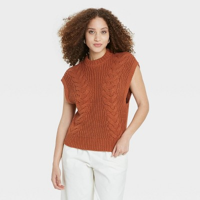 Women's Crewneck Cable Knit Sweater Vest - A New Day™
