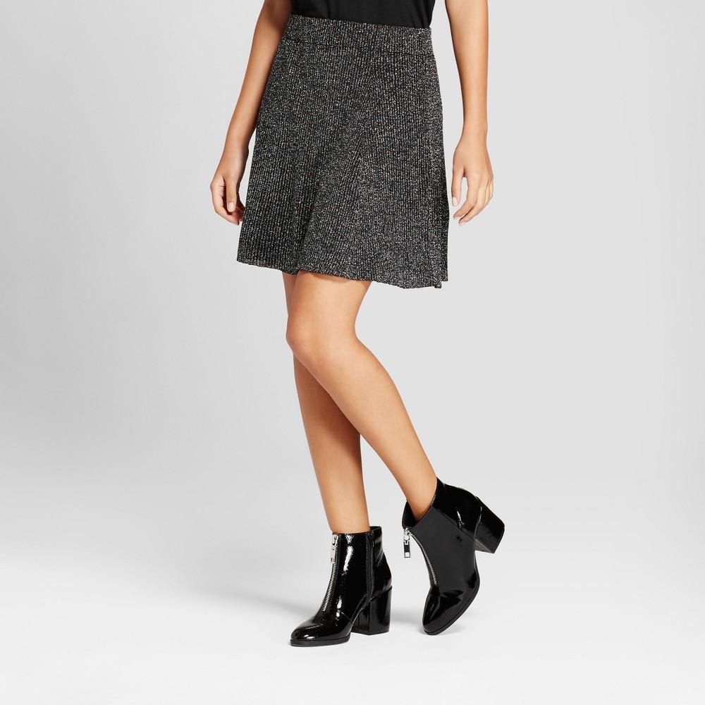 Women's Metallic Sweater Flippy Mini Skirt - Xhilaration Black XL