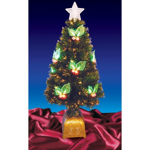 Northlight  4' Prelit Artificial Christmas Tree Color Changing Fiber Optic with Holly Berries - image 1 of 2