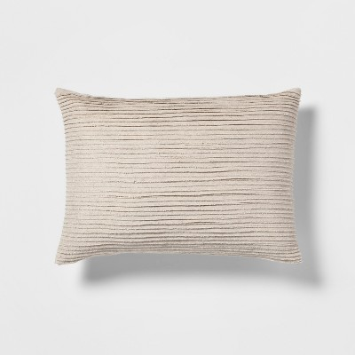 Frayed Pleated Lumbar Throw Pillow Neutral - Threshold™