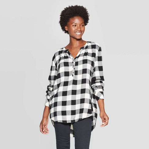 Women's Plaid Long Sleeve V-Neck Rayon Twill Tunic - Universal Thread™ Black/White - image 1 of 3