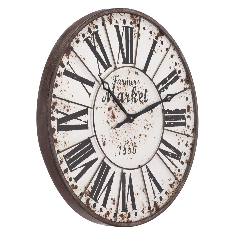 ZM Home 24 Industrial Round Wall Clock White