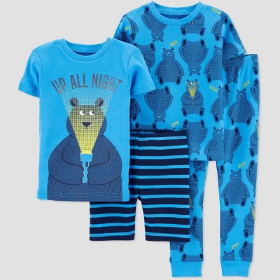 Baby Boys' 4pc 100% Cotton 'Bears' Pajama Set - Just One You® made by carter's Blue 12M