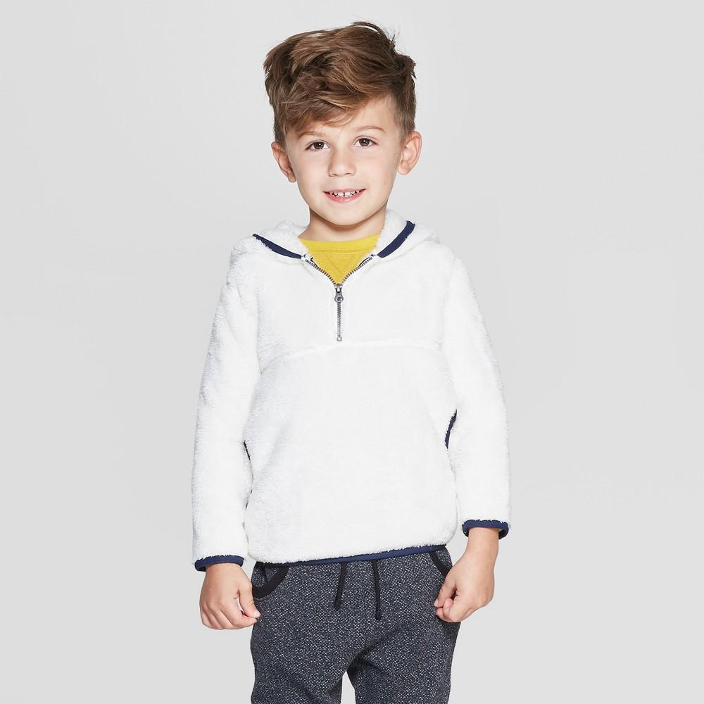 Toddler Boys' Teddy Bear Fleece Hoodie - Cat & Jack Light Tan 2T, White