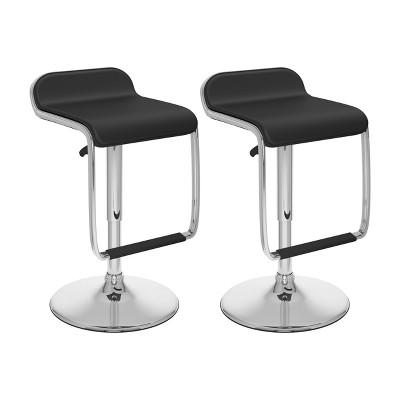 Set of 2 Adjustable Leatherette Barstool with Footrest - Corliving