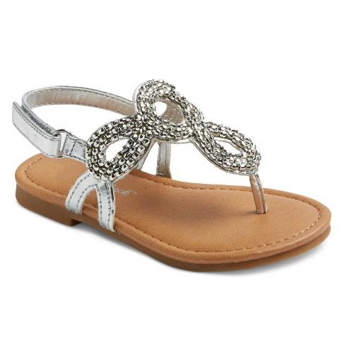 Toddler Girls' Melrose Beaded Thong Sandals Cat & Jack™ - Silver 12 - image 1 of 3