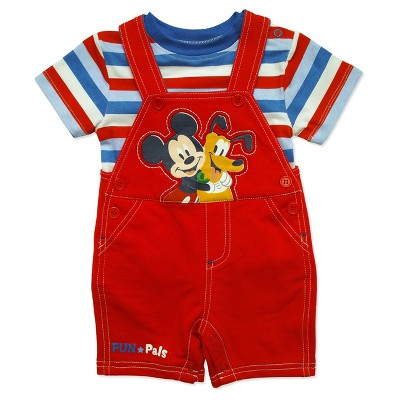 Mickey Mouse Baby Boys' Shortall & Shirt Set - Red 0-3M