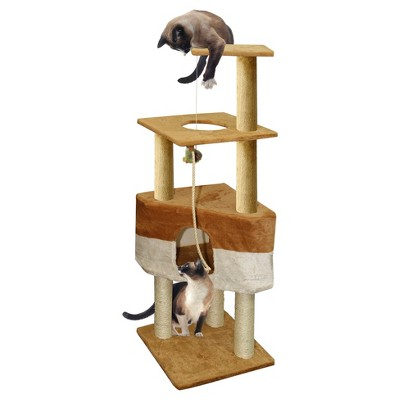 Paws & Pals Cat Scratch Tree Condo Furniture 50  -<br> Brown and Tan