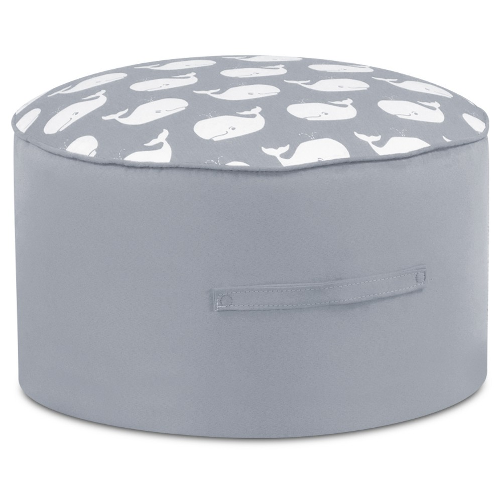 Round Foam Ottoman With Handle - Whale Tales Storm White Twill With Pebbles Gray & White - Kangaroo Trading Co.