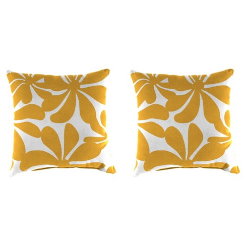 Outdoor Set Of 2 Accessory Toss Pillows In Twirly Yellow - Jordan Manufacturing - image 1 of 1