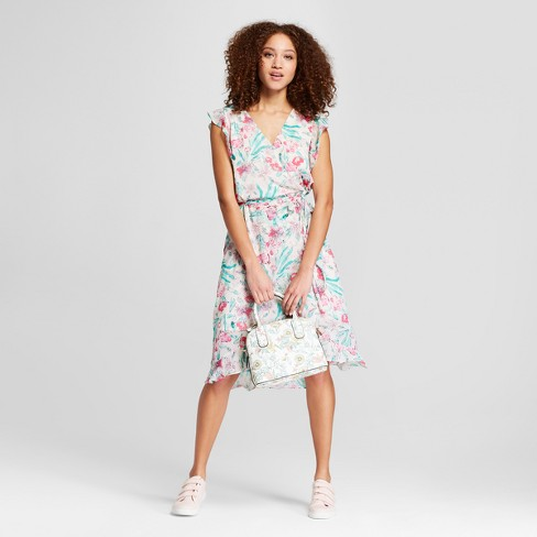 Women's Floral Print Short Sleeve Ruffle Wrap Dress - A New Day™ Light Pink - image 1 of 3