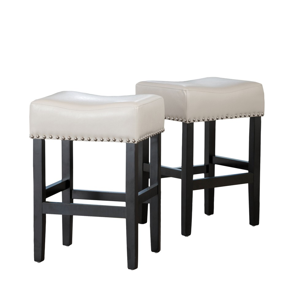 Set of 2 Laramie Backless Counter Stool Ivory White - Christopher Knight Home