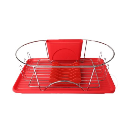 MegaChef 17 Inch Red and Silver Dish Rack