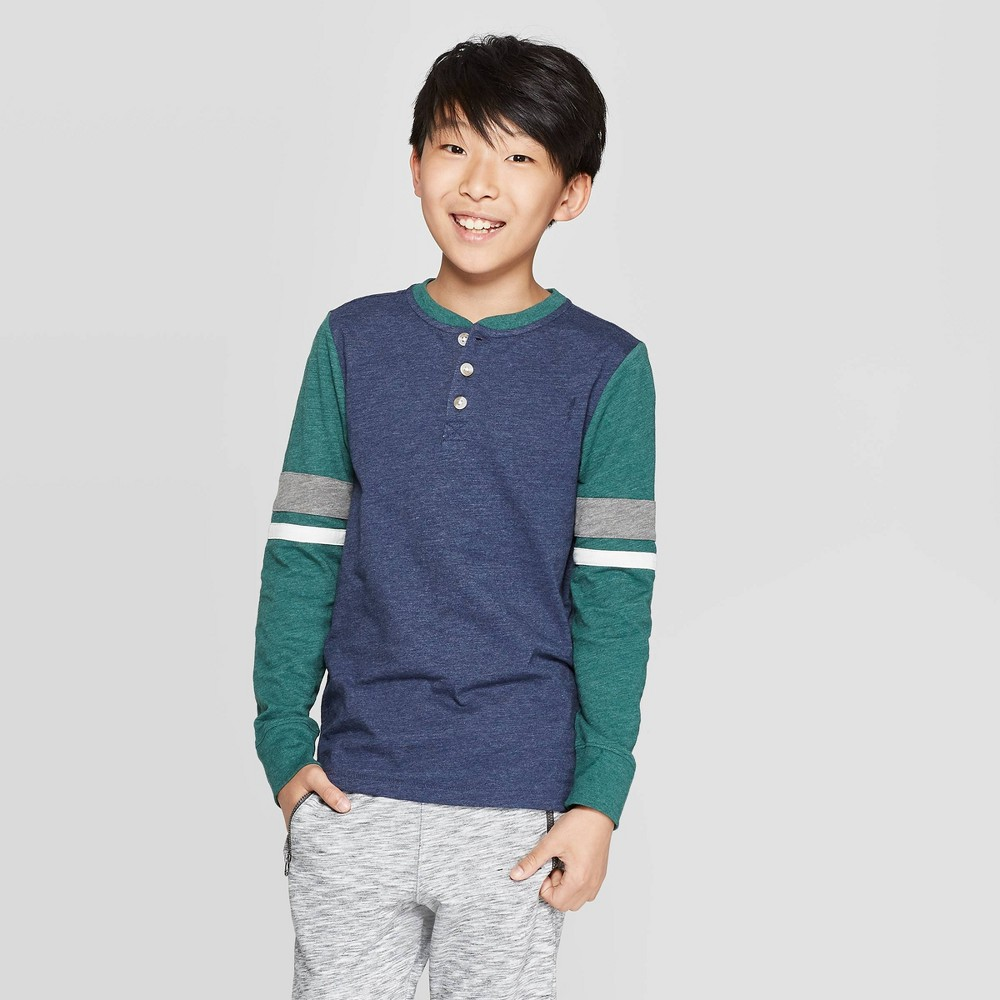 Image of Boys' Long Sleeve Henley Shirt - Cat & Jack Navy/Green L, Boy's, Size: Large, Blue/Green