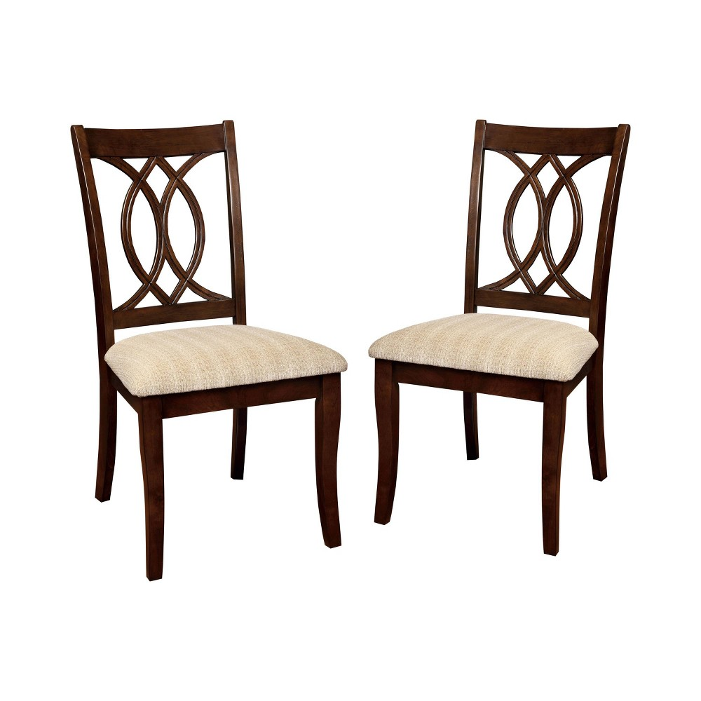 Set of 2 Ladister Curved Wooden Carved Design Back Side Chair Brown Cherry - miBasics, Redwood Brown