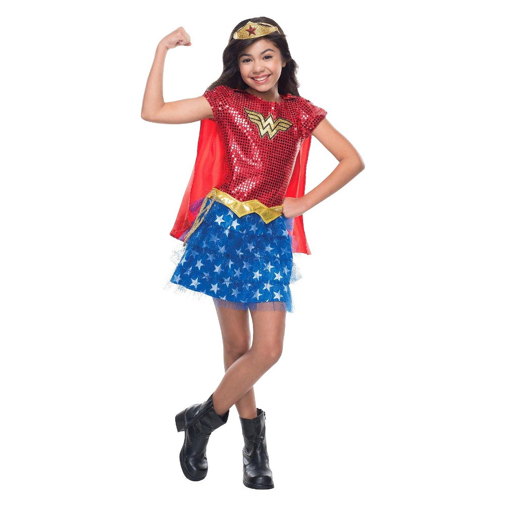 Image of Halloween Toddler Girls' DC Comics Wonder Woman Costume - 3T/4T, Girl's, Size: Small, Red