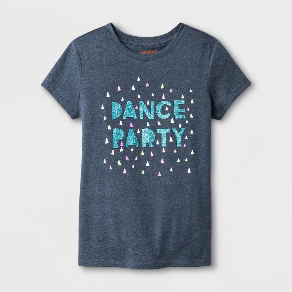 Girls' Short Sleeve Dance Party Graphic T-Shirt - Cat & Jack Dark Gray S