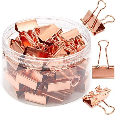 50 Pack 1 in Rose Gold Binder Clips Medium Paper Clips Clamps File Clips for Office School Supplies