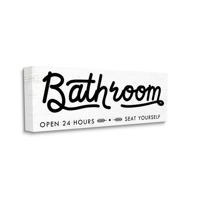 Stupell Industries Seat Yourself Bathroom Sign Minimal Black White