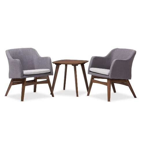 "Vera Mid - Century Modern 3 - Piece Lounge Chair and Side Table Set - Gray, ""Walnut"" Brown - Baxton Studio - image 1 of 4"