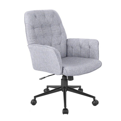 Modern Upholstered Tufted Office Chair With Arms Gray Techni Mobili