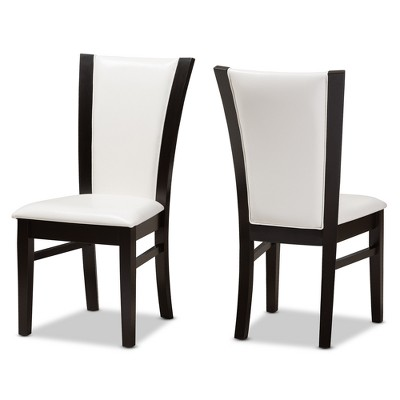 Adley Modern And Contemporary Finished Faux Leather Dining Chairs Set Of 2  White/Dark Brown   Baxton Studio