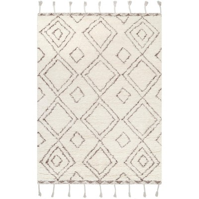 5 X8 Rectangle Hand Made Tufted Geometric Wool Area Rug Beige Nuloom Target