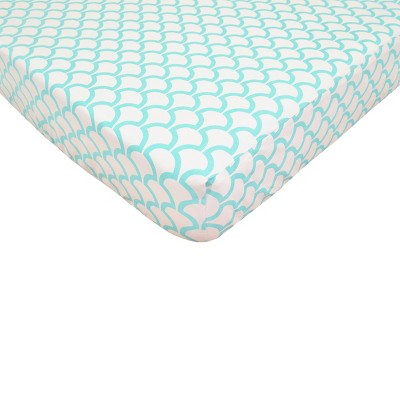 TL Care Aqua Sea Waves Fitted Crib Sheet