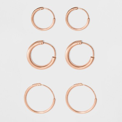 Endless Hoop Rose Gold Over Sterling Silver Small Three Earring Set 3pc- A New Day™ Rose Gold