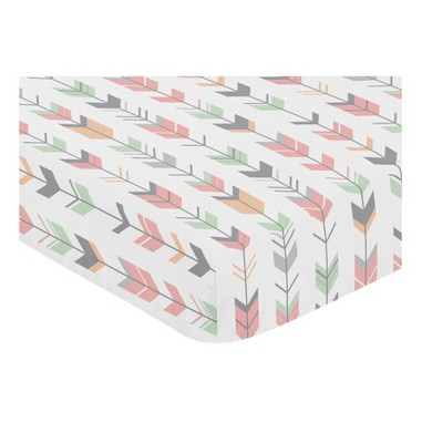Sweet Jojo Designs Mod Arrow Fitted Crib Sheet - Mint/Coral
