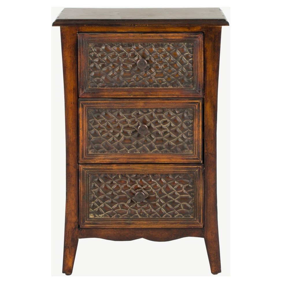 Clarence End Table With Drawers Brown - Safavieh