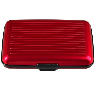 Zodaca Aluminum Pocket Business ID Credit Card Wallet Case Holder Metal Box Red