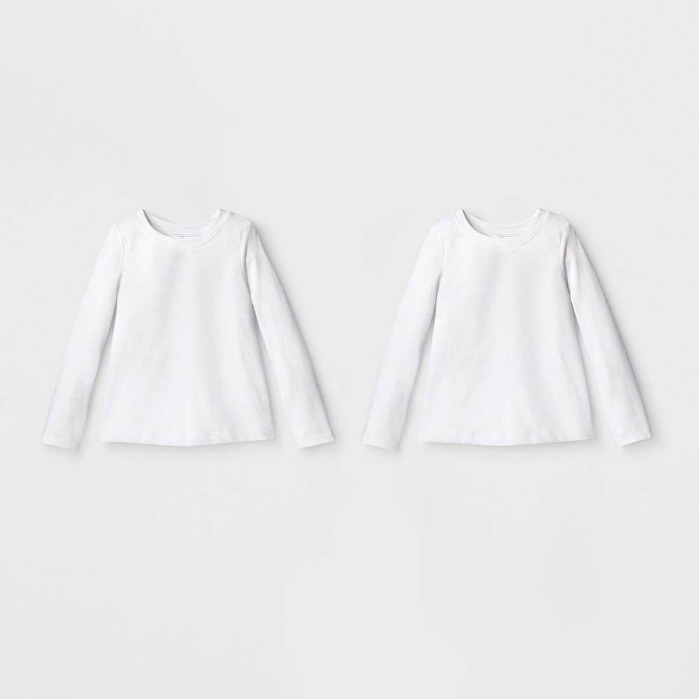 Toddler Girls' 2pk Long Sleeve T-Shirt Set - Cat & Jack White 12M