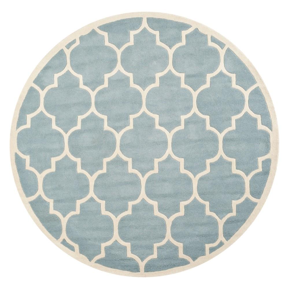 9' Quatrefoil Design Tufted Round Area Rug Blue/Ivory - Safavieh