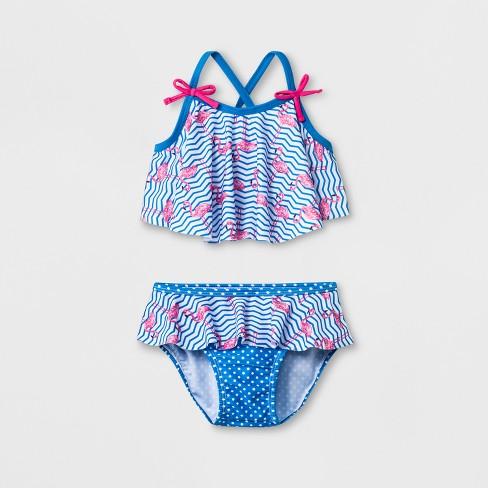 Sol Swim Toddler Girls Flamingos Tankini Swimwear Set Pinkblue