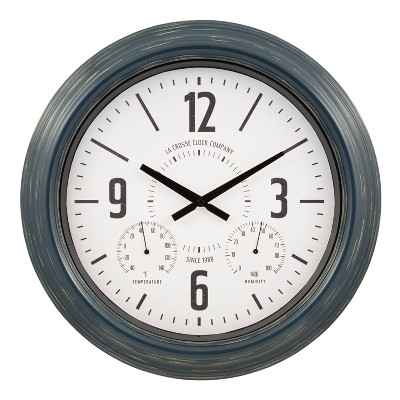 "18"" Hamilton Indoor/Outdoor Metal Wall Clock Blue - La Crosse Technology"