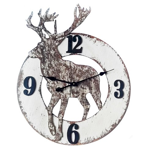 The Northern Wall Clock Distressed White - Infinity Instruments® - image 1 of 3
