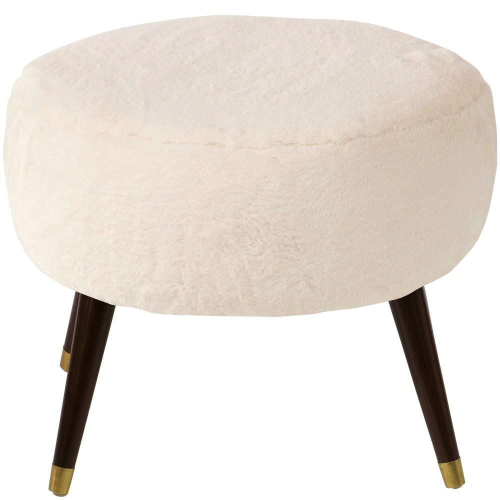 Farwell Oval Ottoman with Gold Caps Cream Faux Fur - Project 62, Cream Fur