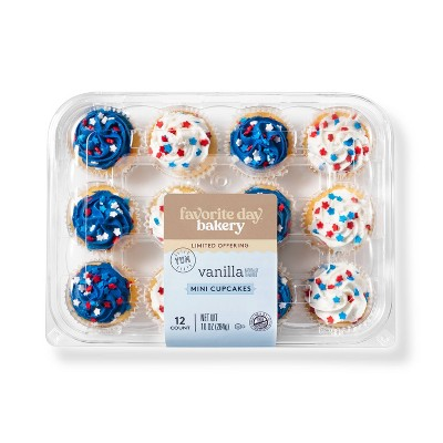 Patriotic Vanilla Mini Cupcakes - 12ct - Favorite Day™