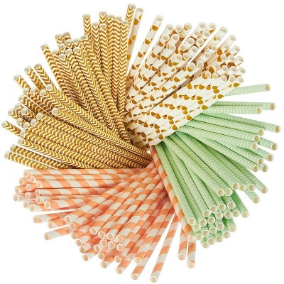Juvale 160 Pack Paper Straws - Biodegradable Straws Mint Green, Metallic Gold, Polka Dots, Coral Stripes, and Chevron Design Bulk Drinking Straws