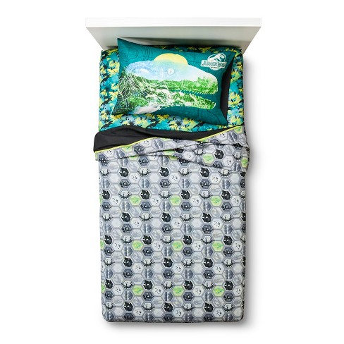 Jurassic World Sheet Set - Blue/Green (Twin) - image 1 of 2