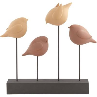 "Dahlia Studios Four Birds 17"" High Tan and Terracotta Finish Rustic Statue Piece"