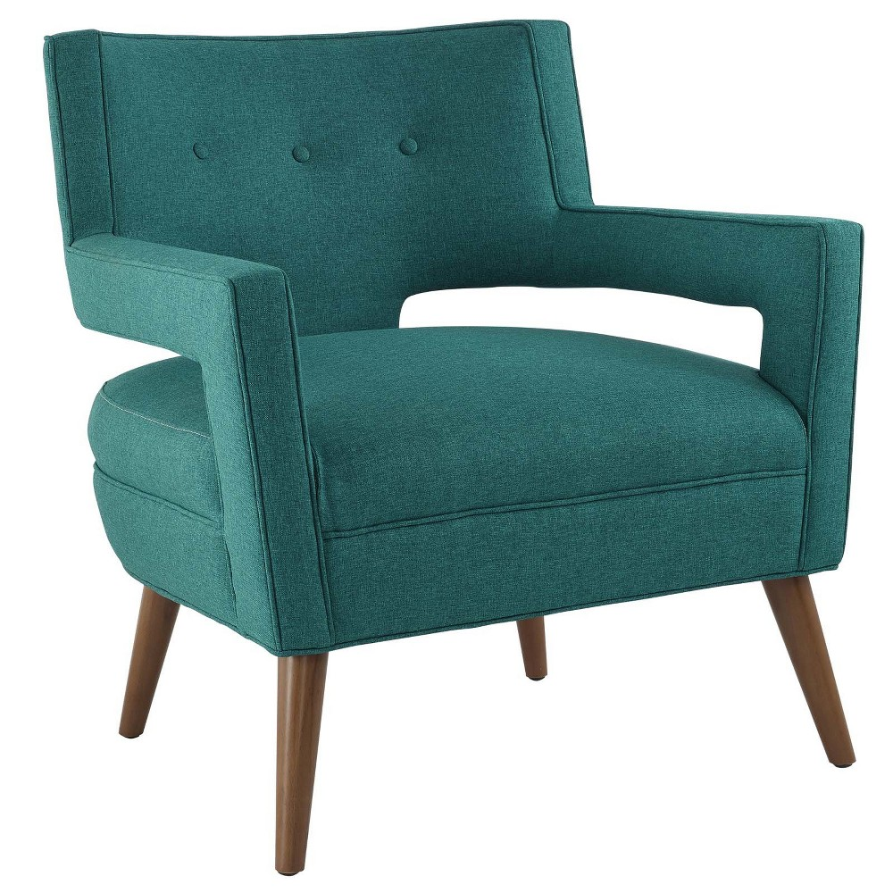 Sheer Upholstered Fabric Armchair Teal (Blue) - Modway