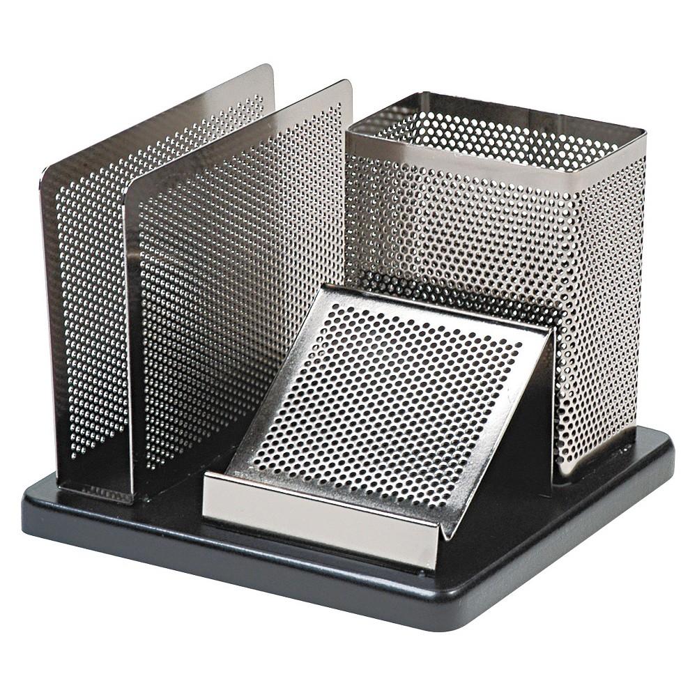 Rolodex Distinctions Desk Organizer, 5 7/8 x 5 7/8 x 4 1/2, Metal/Black