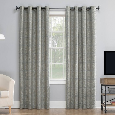 """95""""x50"""" Evie Medallion Jacquard Extreme Total Blackout Grommet Top Curtain Panel Blue/Linen - Sun Zero"""