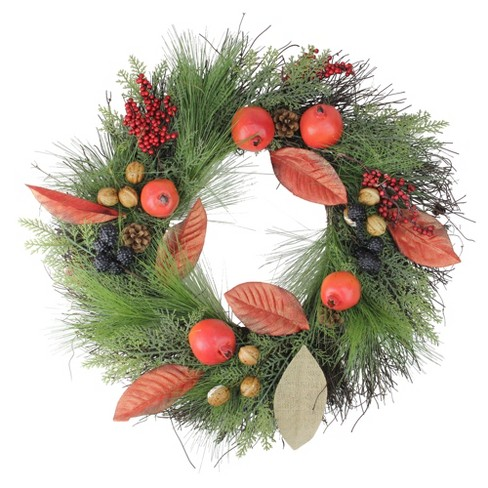 """Northlight 24"""" Unlit Autumn Harvest Mixed Berry, Pine, and Nut Thanksgiving Fall Wreath - image 1 of 2"""