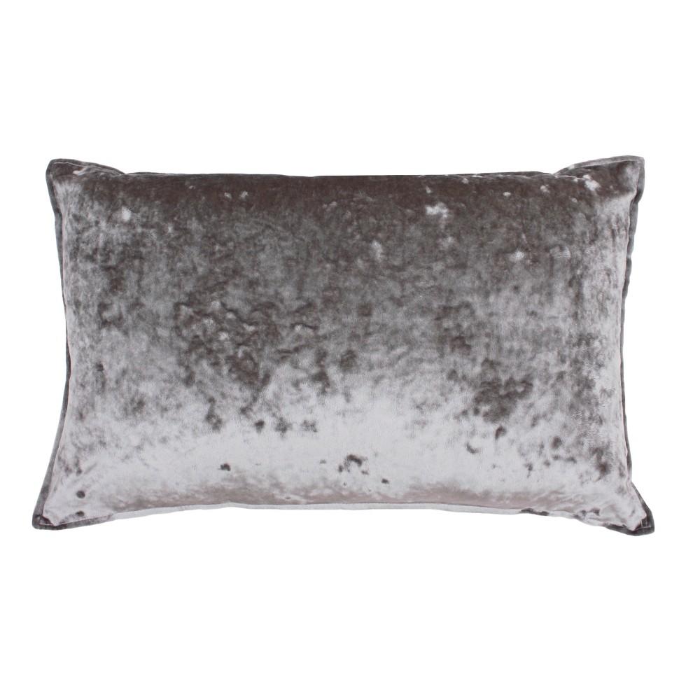 Ibenz Ice Velvet Lumbar Throw Pillow Gray - Décor Therapy
