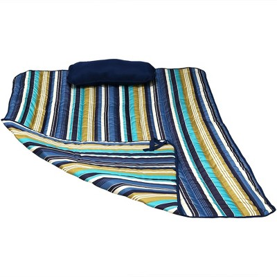 Polyester Quilted Lakeview Hammock Pad and Pillow - Blue/Green/White - Sunnydaze Decor