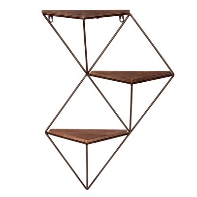 25.38 x17.5  Three Step Wood and Metal Geometric Wall Shelf Black - Patton Wall Decor