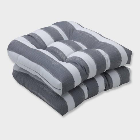 2pk Nico Sea Salt Wicker Outdoor Seat Cushions Gray - Pillow Perfect - image 1 of 2